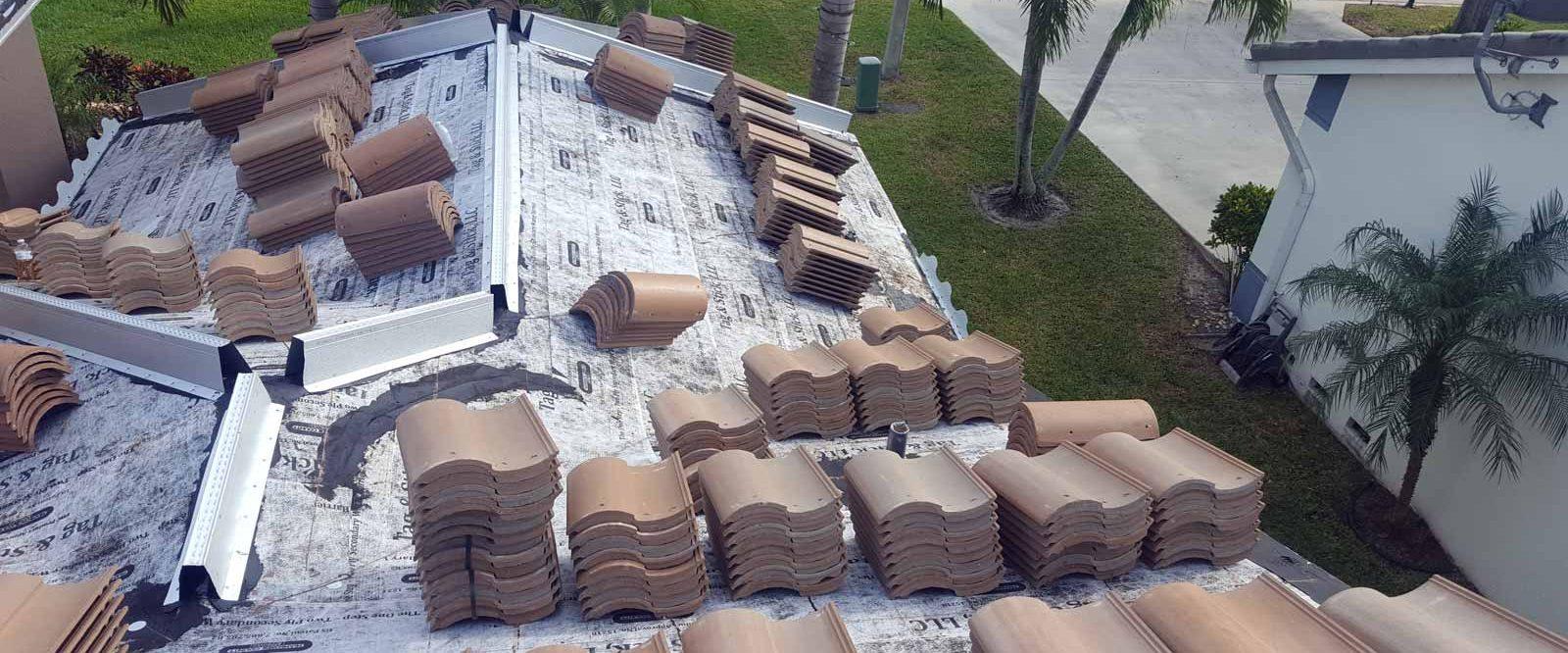 tile stacks on roof