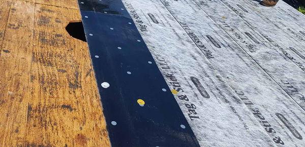 Tag & Stick roofing underlayment